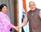 The Prime Minister, Shri Narendra Modi meeting the Speaker of Bangladesh, Dr. Shirin Sharmin Chaudhury, in New Delhi on May 27, 2014