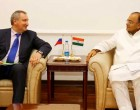 The Deputy Prime Minister of the Russian Federation, Dmitry Rogozin meeting the Union Minister for Finance, Corporate Affairs and Defence, Arun Jaitley, in New Delhi on June 18, 2014.
