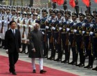 The Vice President, Mohd. Hamid Ansari inspecting the Guard of Honour, at Great Hall of People, at Beijing