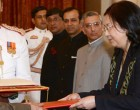 Ambassador of Kyrgyz Republic, Her Excellency Mrs. Samargiul Adamkulova presenting her credentials to the President of India, Shri Pranab Mukherjee