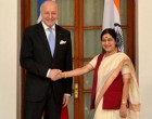 Foreign Minister Laurent Fabius of France meeting Indian Foreign Minister Sushma Swaraj