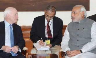 The US Senator, John McCain calls on the Prime Minister, Narendra Modi, in New Delhi.