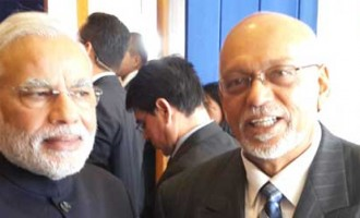 The Prime Minister, Narendra Modi meeting the President of Co-operative Republic of Guyana, Donald Ramotar