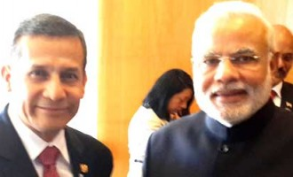 The Prime Minister, Narendra Modi meeting the President of the Republic of Peru, Ollanta Humala