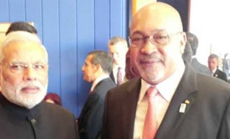 The Prime Minister, Narendra Modi meeting the President of the Republic of Suriname, Desi Bouterse