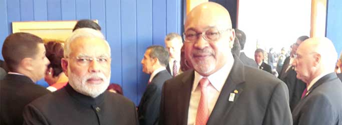 The Prime Minister, Narendra Modi meeting the President of the Republic of Suriname, Desi Bouterse, on the sidelines of the Sixth BRICS Summit, at Brasilia, in Brazil on July 16, 2014.