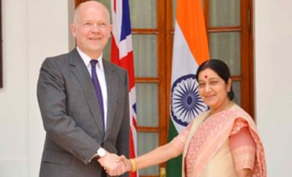 Secretary of State for Foreign and Commonwealth Affairs, United Kingdom, Mr. William Hague meeting Smt. Sushma Swaraj, Indian Foreign Minister