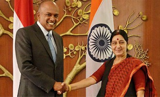 External Affairs Minister Sushma Swaraj meets Minister for Foreign Affairs  & Law K. Shanmugam of Singapore