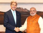 The US Secretary of State, John Kerry and the US Secretary of Commerce, Penny Pritzker calling on the Prime Minister, Narendra Modi