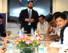 The MoS (IC) for Power, Coal and New and Renewable Energy, Piyush Goyal at a meeting with the US Secretary of Commerce, Penny Pritzker