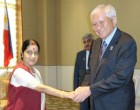 External Affairs Minister meets Albert F. Del Rosario, Foreign Minister of Philippines, on the sidelines of 47th ASEAN Foreign Ministers Meeting in ​Nay Pyi Taw, Myanmar