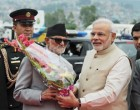 Prime Minister, Shri Narendra Modi being received by the Prime Minister of Nepal, Shri Sushil Koirala on his arrival, at Tribhuvan International Airport, Kathmandu, Nepal