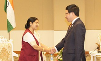 External Affairs Minister meets Pham Binh Minh, Foreign Minister of Vietnam, on the sidelines of 47th ASEAN Foreign Ministers Meeting in Nay Pyi Taw, Myanmar
