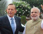 The Prime Minister, Narendra Modi with the Prime Minister of Australia, Tony Abbott, at the Ceremonial Reception, at Rashtrapati Bhavan