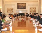 The Prime Minister, Narendra Modi and the Chinese President, Xi Jinping, at the delegation level talks,