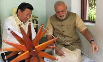 The Prime Minister, Narendra Modi and the Chinese President, Xi Jinping at the Sabarmati Ashram,