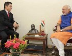 The Chinese Ambassador, Le Yucheng calling on the Prime Minister, Narendra Modi, in Gujarat.