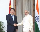The Prime Minister, Narendra Modi shaking hands with the Chinese President, Xi Jinping in New Delhi