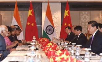 The Vice President, Mohd. Hamid Ansari meeting the Chinese President, Xi Jinping, in New Delhi