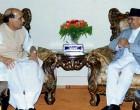 The Union Home Minister, Shri Rajnath Singh calling on the President of Nepal, Dr. Ram Baran Yadav, in Kathmandu