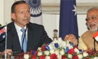 Prime Minister, Shri Narendra Modi and the Prime Minister of Australia, Mr. Tony Abbott, at the Joint Press Statements