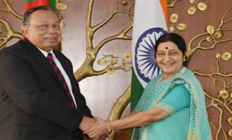 External Affairs Minister Sushma Swaraj meets Foreign Minister Abul Hassan Mahmood Ali of Bangladesh