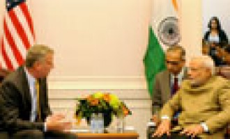 PM Narendra Modi meeting the Mayor of New York, Mr. Bill de Blasio in New York