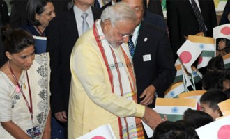 Prime Minister, Shri Narendra Modi interacting with children during his visit to Taimei Elementary School, in Tokyo, Japan