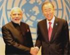 PM Narendra Modi meeting the UNGA Secretary-General Ban Ki-moon at UN Headquarters in New York
