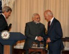 The Prime Minister, Narendra Modi at lunch hosted by the US Vice President, Joe Biden and the US Secretary of State, John Kerry