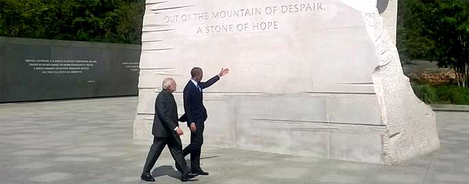 The Prime Minister, Narendra Modi and the US President, Barack Obama at the Martin Luther King memorial, in Washington.