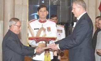 The Ambassador-designate of Latvia, Aivars Groza presenting his credential to the President, Pranab Mukherjee, at Rashtrapati Bhavan, in New Delhi