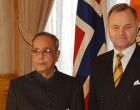 President of India, Pranab Mukherjee with  Mr. Olemic Thommessen, President of Storting, Parliament of Norway at Oslo, Norway