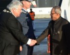 President of India, Pranab Mukherjee received by Herald Espolund, Mayor of Ullensake in Oslo, Norway