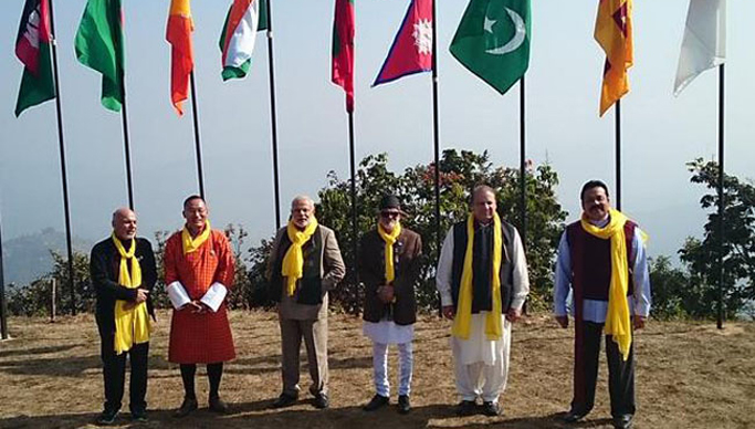 The Prime Minister, Narendra Modi along with the SAARC leaders, during the Retreat Session of 18th SAARC Summit, in Dhulikhel, Nepal on November 27, 2014.