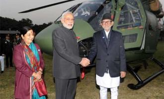 Indian PM Modi hands over Dhruv chopper to Nepal
