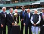 PM Narendra Modi & PM of Australia, Tony Abbott with Indian & Australian Cricketers at MCG