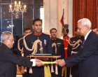 The High Commissioner-Designate of Bangladesh, Syed Muazzem Ali presenting his credential to the President, Pranab Mukherjee, at Rashtrapati Bhavan