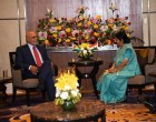 The Minister for External Affairs and Overseas Indian Affairs, Sushma Swaraj calls on President Donald Rabindranauth Ramotar of the Cooperative Republic of Guyana in Gandhi Nagar, Gujarat on the sidelines of 13th Pravasi Bharatiya Divas