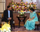 The Minister for External Affairs and Overseas Indian Affairs, Sushma Swaraj meets Vice Prime Minister Showkutally Soodhun of Mauritius in Gandhi Nagar, Gujarat on the sidelines of 13th Pravasi Bharatiya Divas.