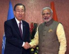 The Prime Minister, Narendra Modi meeting the UN Secretary General, Ban Ki Moon, in Gandhinagar, Gujarat on January 11, 2015.