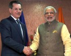 The Prime Minister, Narendra Modi meeting the Governor of Astrakhan, Russia, Alexander Zhilkin, in Gandhinagar, Gujarat on January 11, 2015.