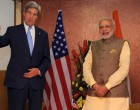 The Prime Minister, Narendra Modi meeting the US Secretary of State, John Kerry, in Gandhinagar, Gujarat.