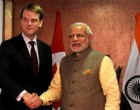 The Prime Minister, Narendra Modi meeting the Minister for citizenship & Immigration of Canada, Chris Alexander, in Gandhinagar,