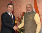 The Prime Minister, Narendra Modi meeting the Prime Minister of Macedonia, Nicola Gruevski, in Gandhinagar, Gujarat on January 11, 2015.