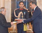 The Ambassador-designate of United States of America, Richard Rahul Verma presenting his credential to the President, Pranab Mukherjee
