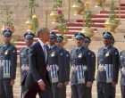 US President Barack Obama inspecting the Guard of Honour at the ceremonial reception