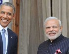 Prime Minister Narendra Modi with the US President Barack Obama at Hyderabad House