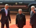 Obama accorded ceremonial welcome, says it's an honour