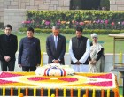 Obama pays tribute to Gandhi, plants sapling